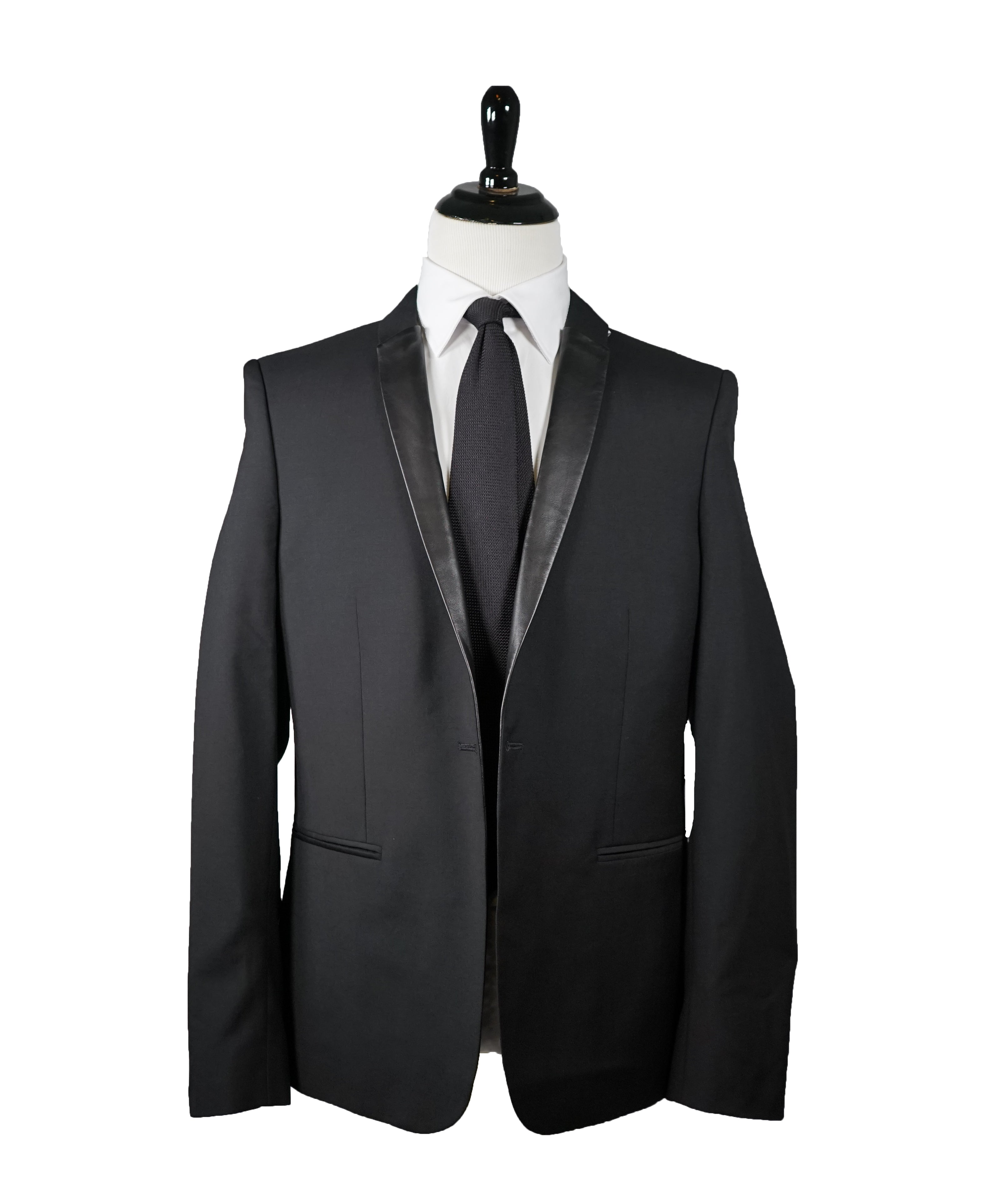 THE KOOPLES - Lambskin Leather Lapel Wool Dinner Jacket - 42R