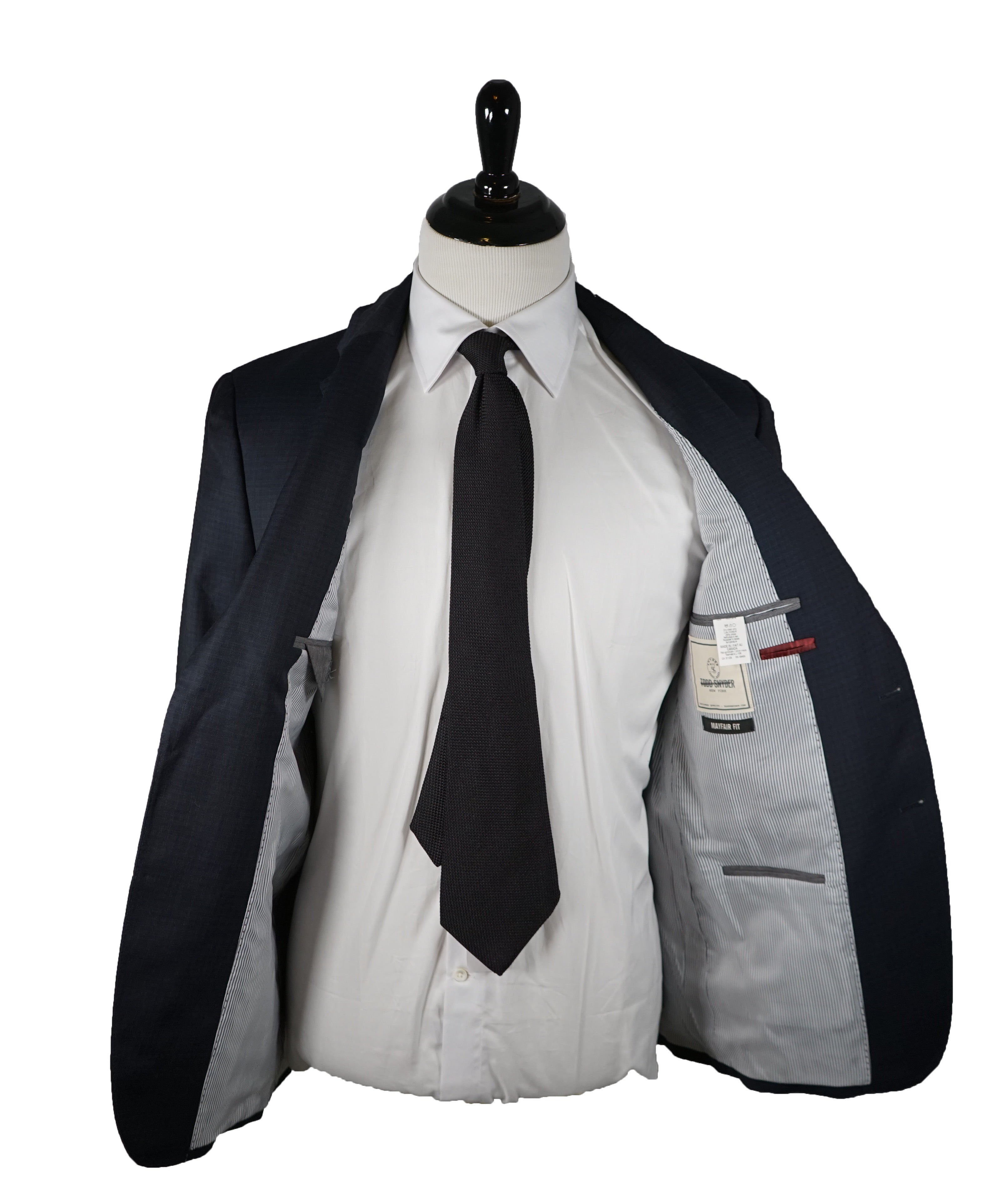 "TODD SNYDER - ""Mayfair Fit"" Check Suit In Blue & Gray - 38R"