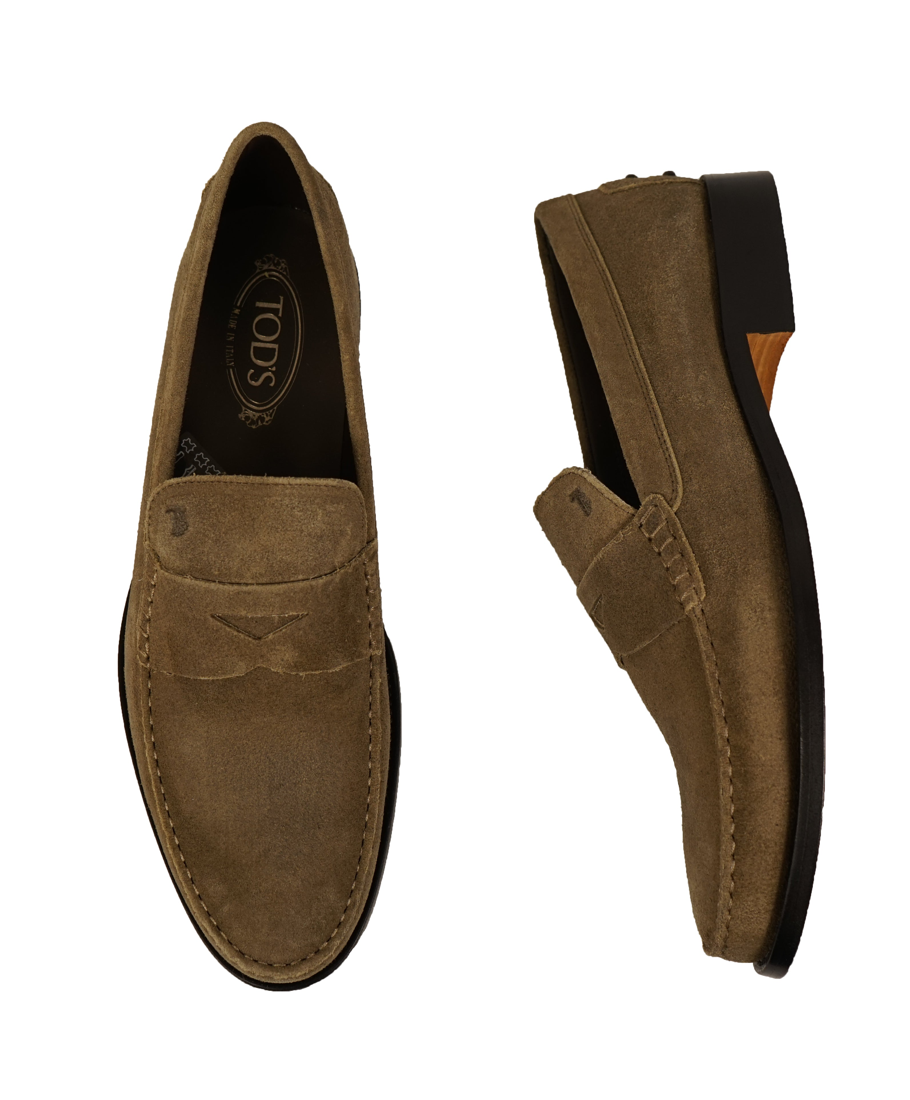 "TOD'S - Brown Distressed Suede Penny Loafers ""Boston"" ""Devon"" Leather Sole - 12"