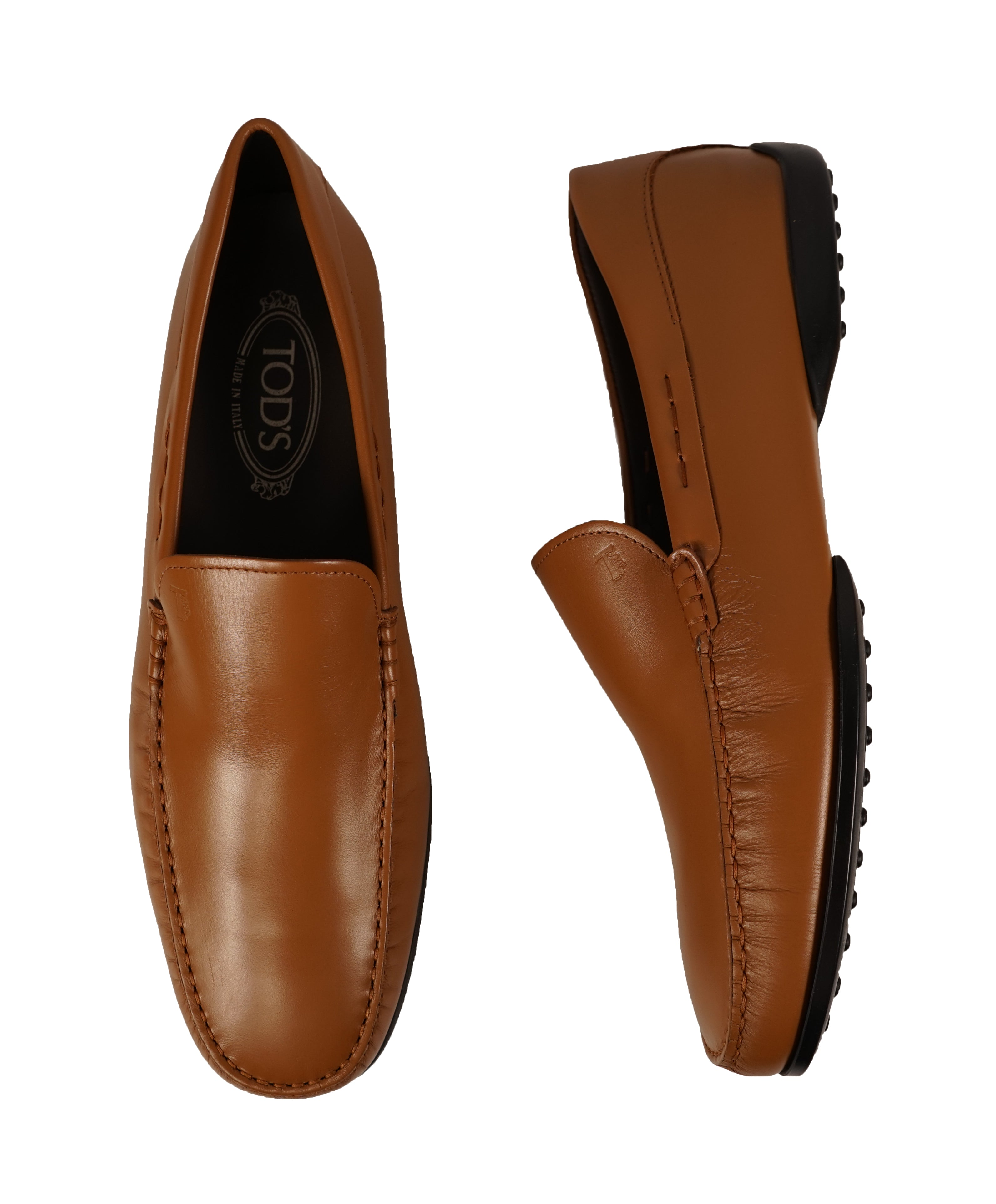 """TOD'S -Brown """"LOGO Gommini"""" Vamp Engraved Italian Leather Loafers- 14"""