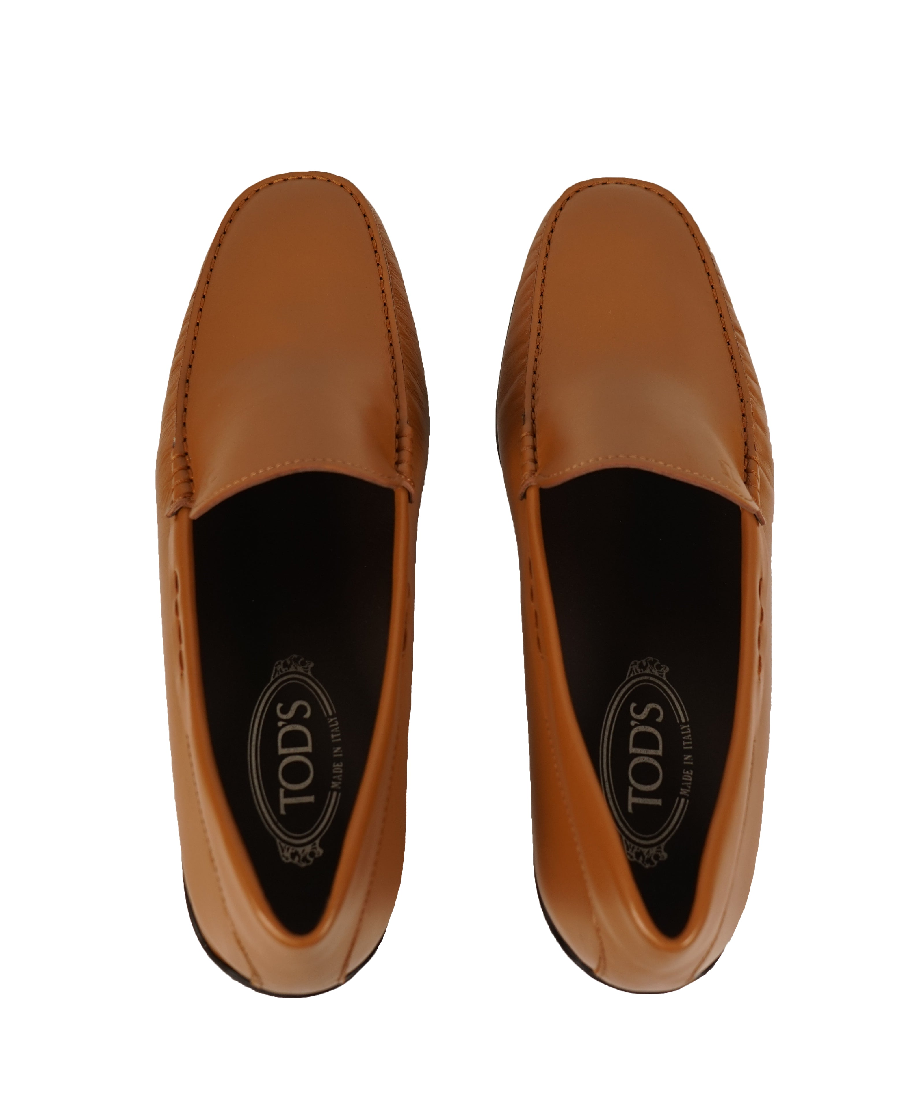 "TOD'S - Brown ""LOGO Gommini"" Vamp Engraved Italian Leather Loafers - 13"