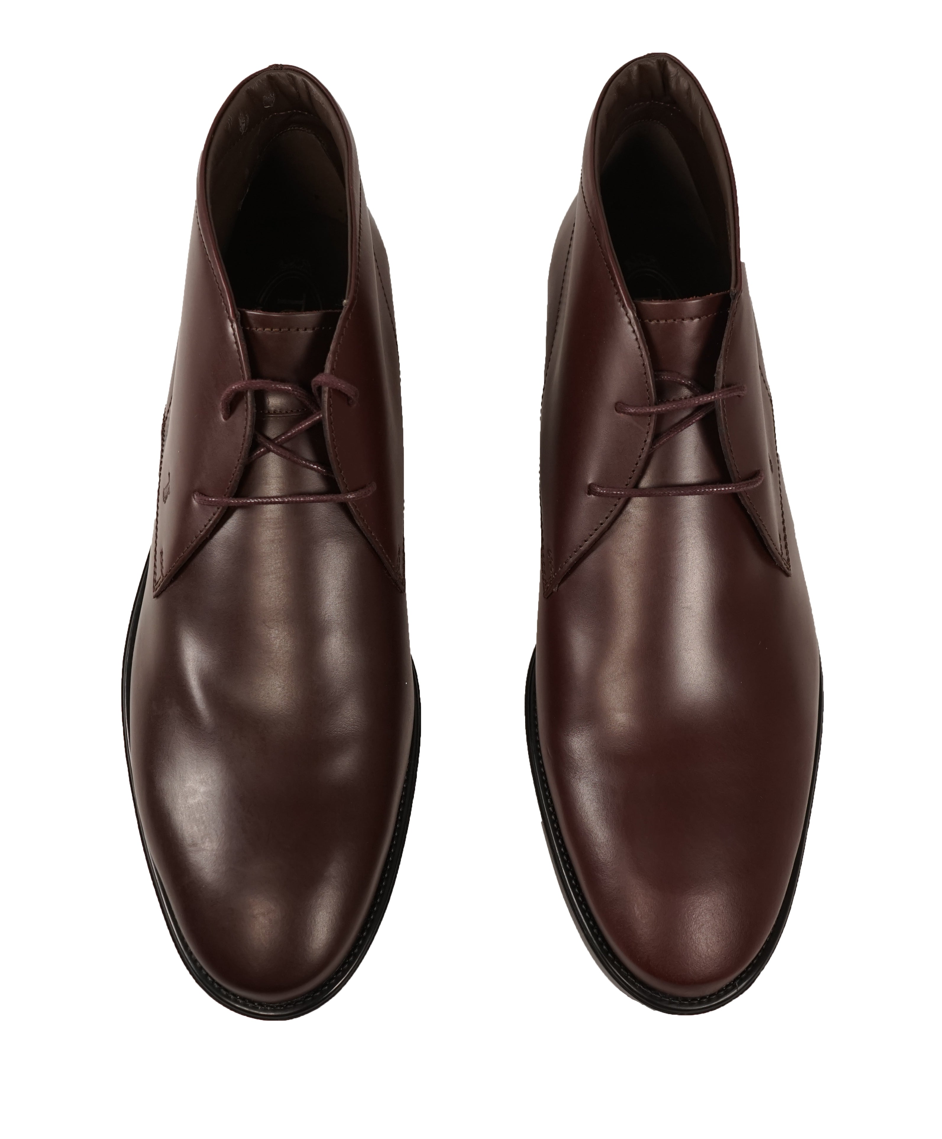 TOD'S - Brown Oxblood Rubber Sole Logo Chukka Boot - 12.5