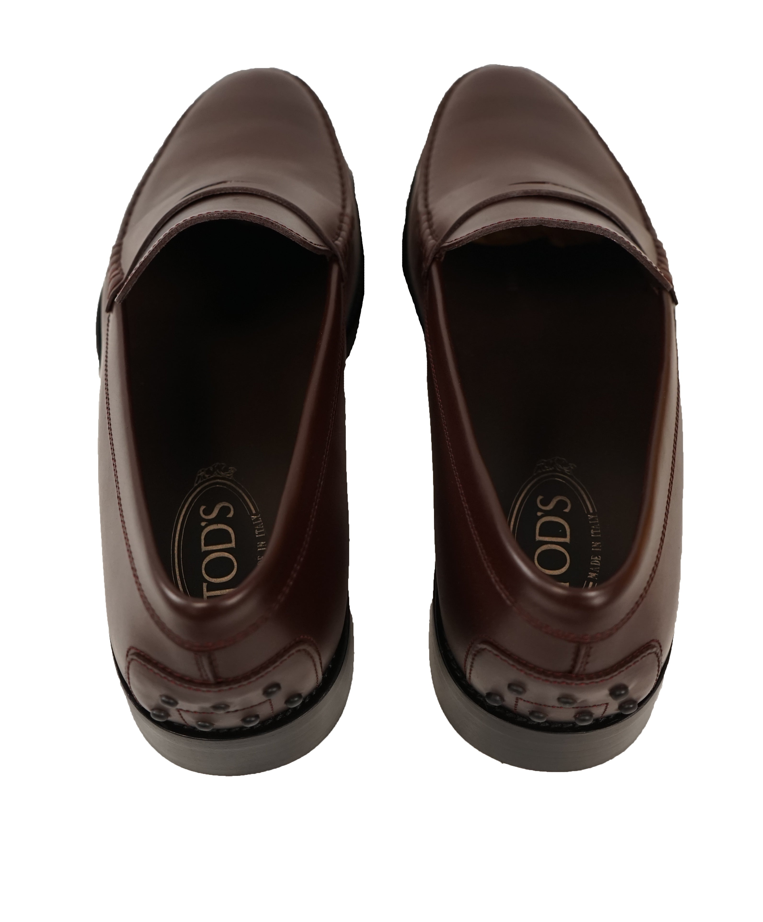 "TOD'S - Burgundy Oxblood Leather Penny Loafers ""Boston Devon"" Leather Sole - 12US"