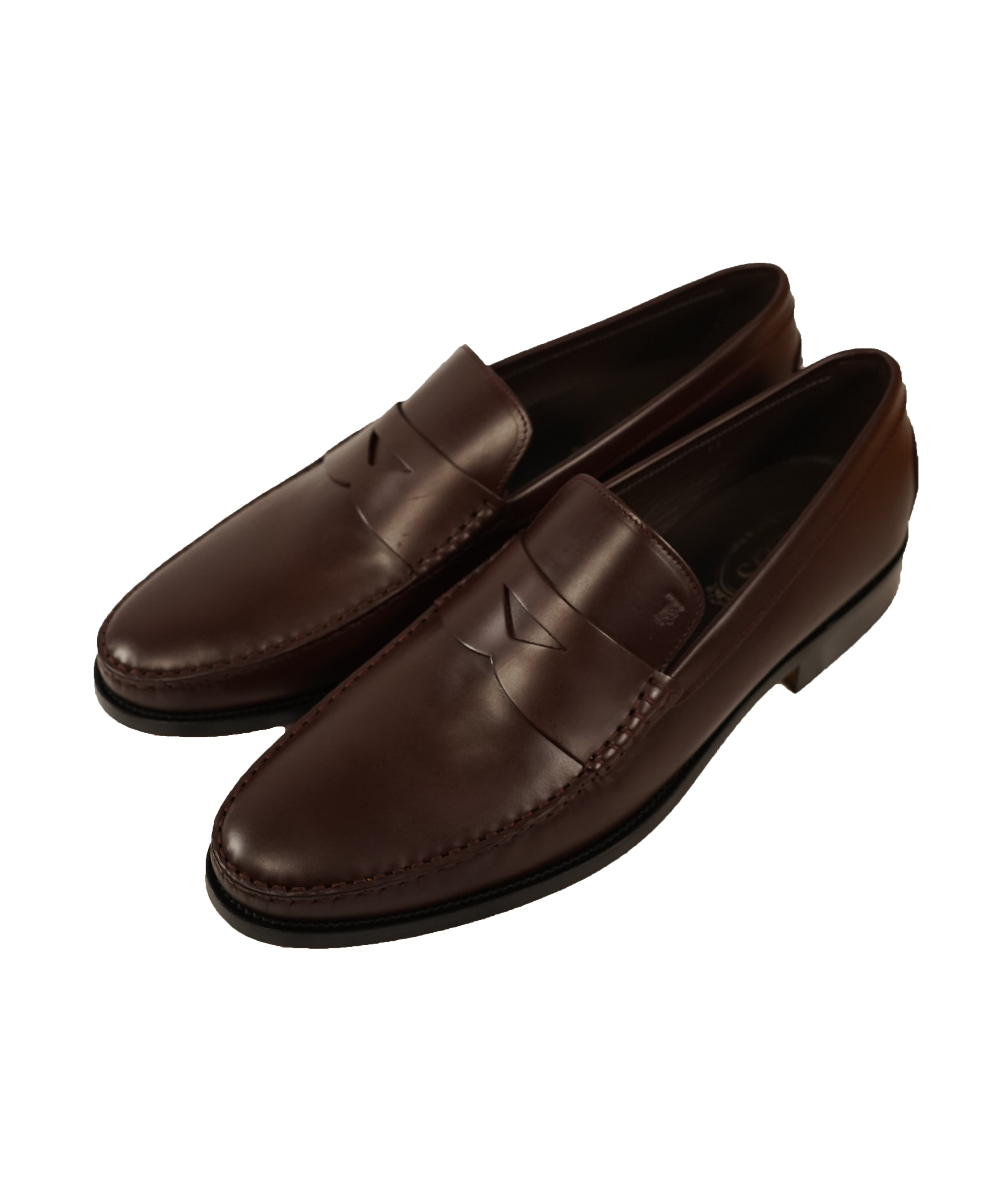 "TOD'S - Burgundy Oxblood Leather Penny Loafers ""Boston Devon"" Leather Sole - 13US"