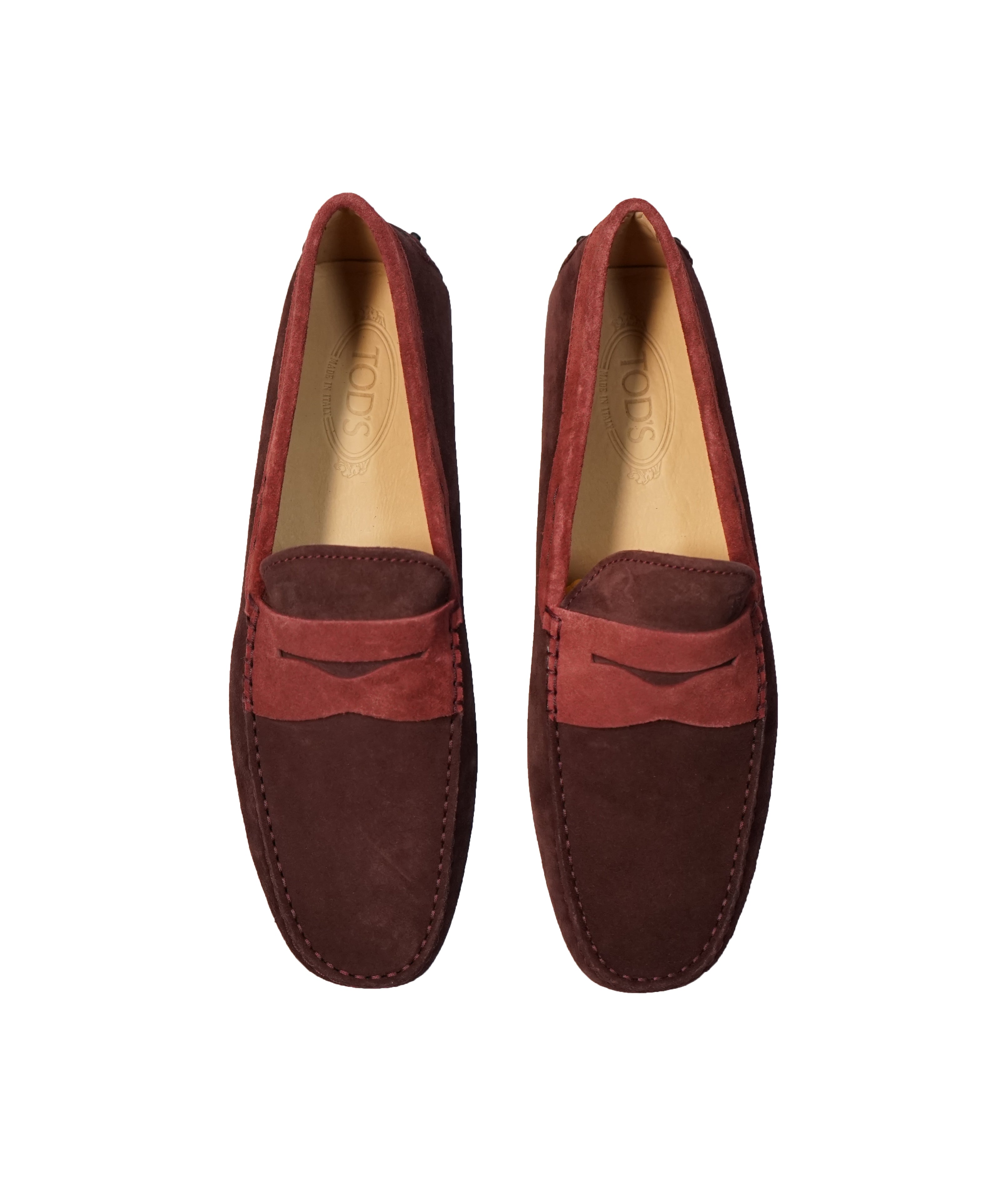 TOD'S - Gommini Laccetto Bi-Color Burgundy Suede Driving Loafers - 9