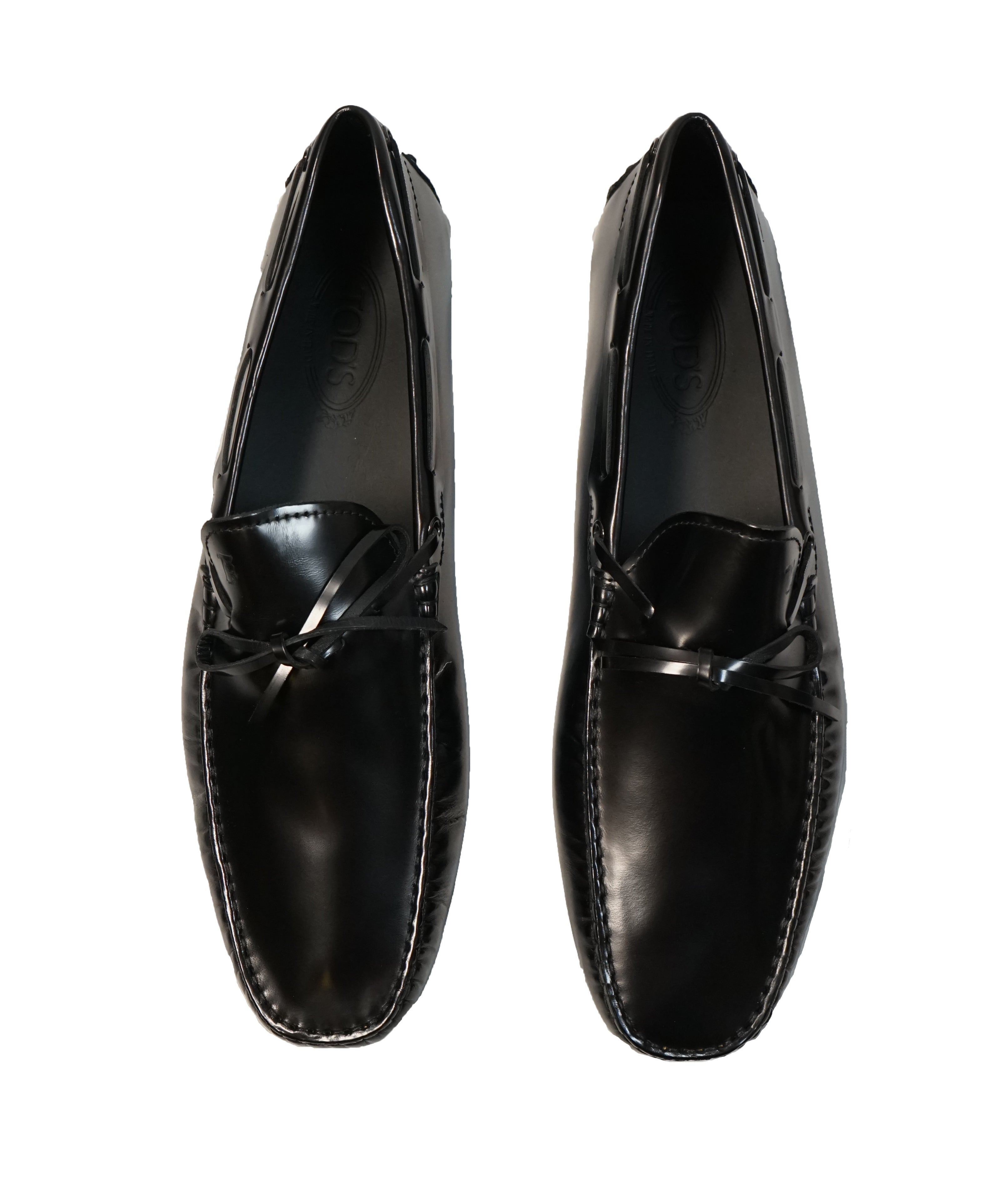 TOD'S - Gommini Laccetto Black On Black Driving Loafer - 13.5