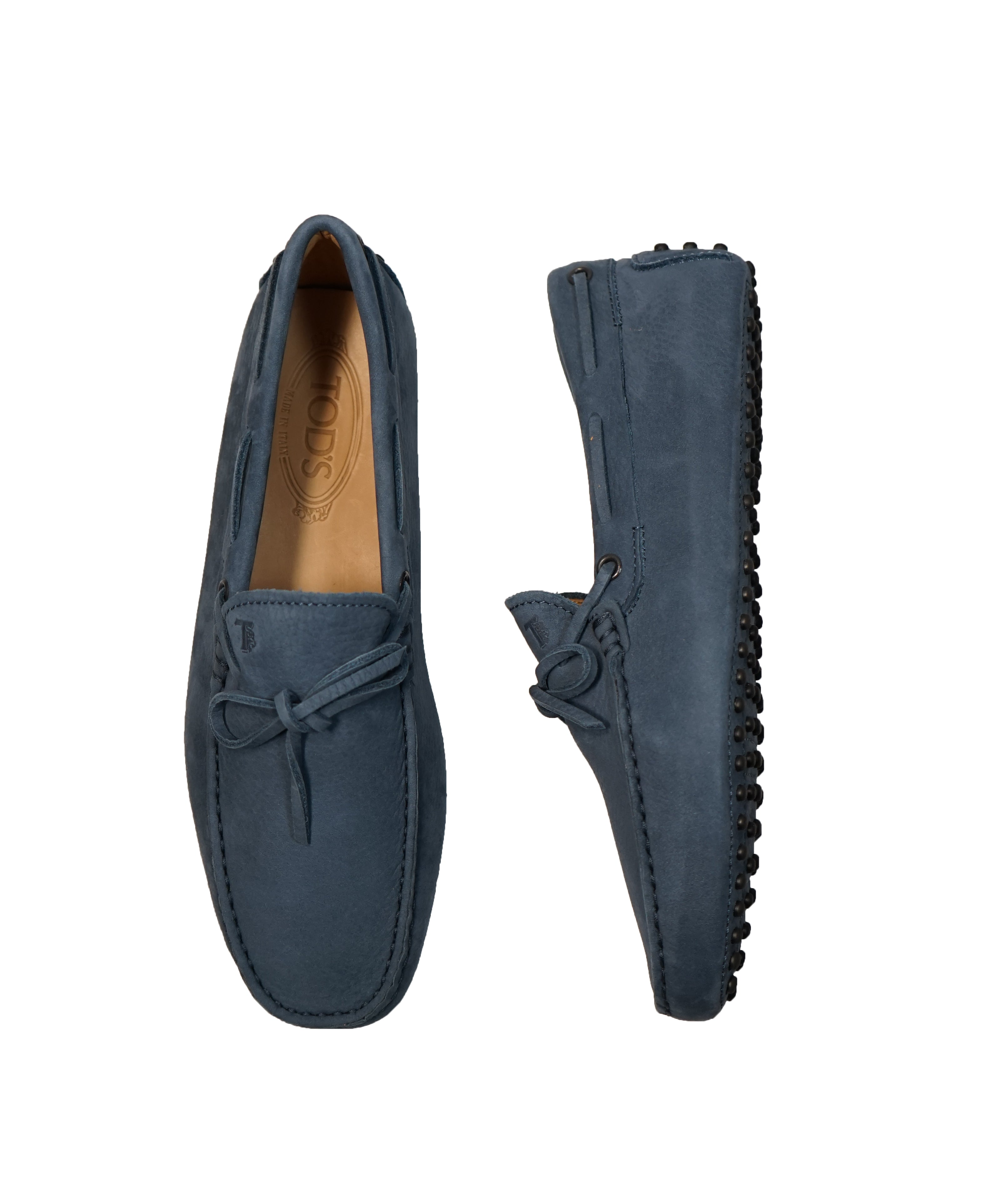 TOD'S - Gommini Laccetto Powder Blue Suede Driving Loafers - 7.5