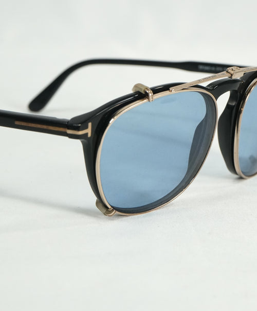 "TOM FORD - ""TF5401"" Black/Gold & Blue With Clip On Sunglasses - 51-20 145"