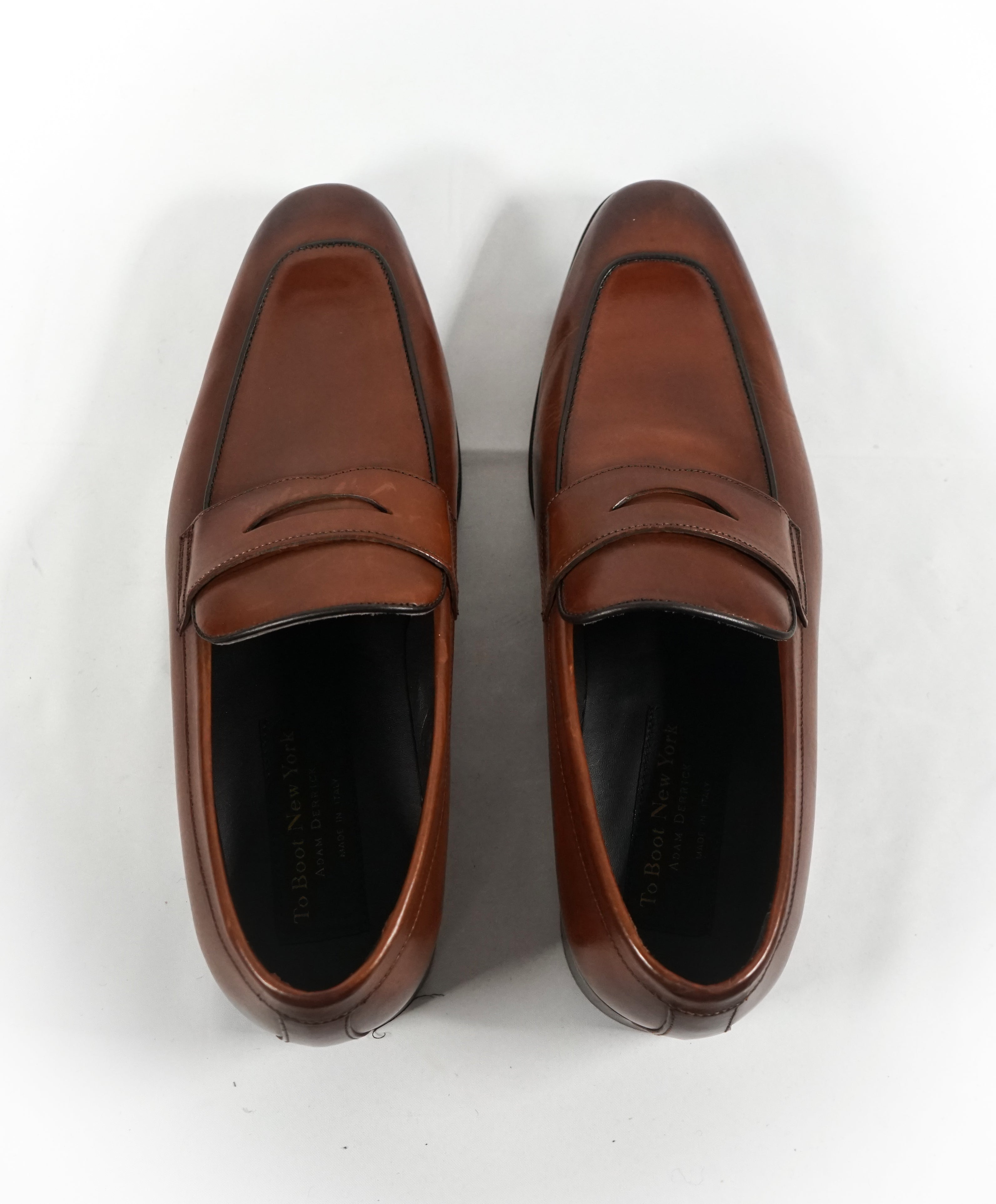 "TO BOOT NEW YORK - ""Dupont"" Brown Premium Grade Leather Penny Loafers - 8.5"