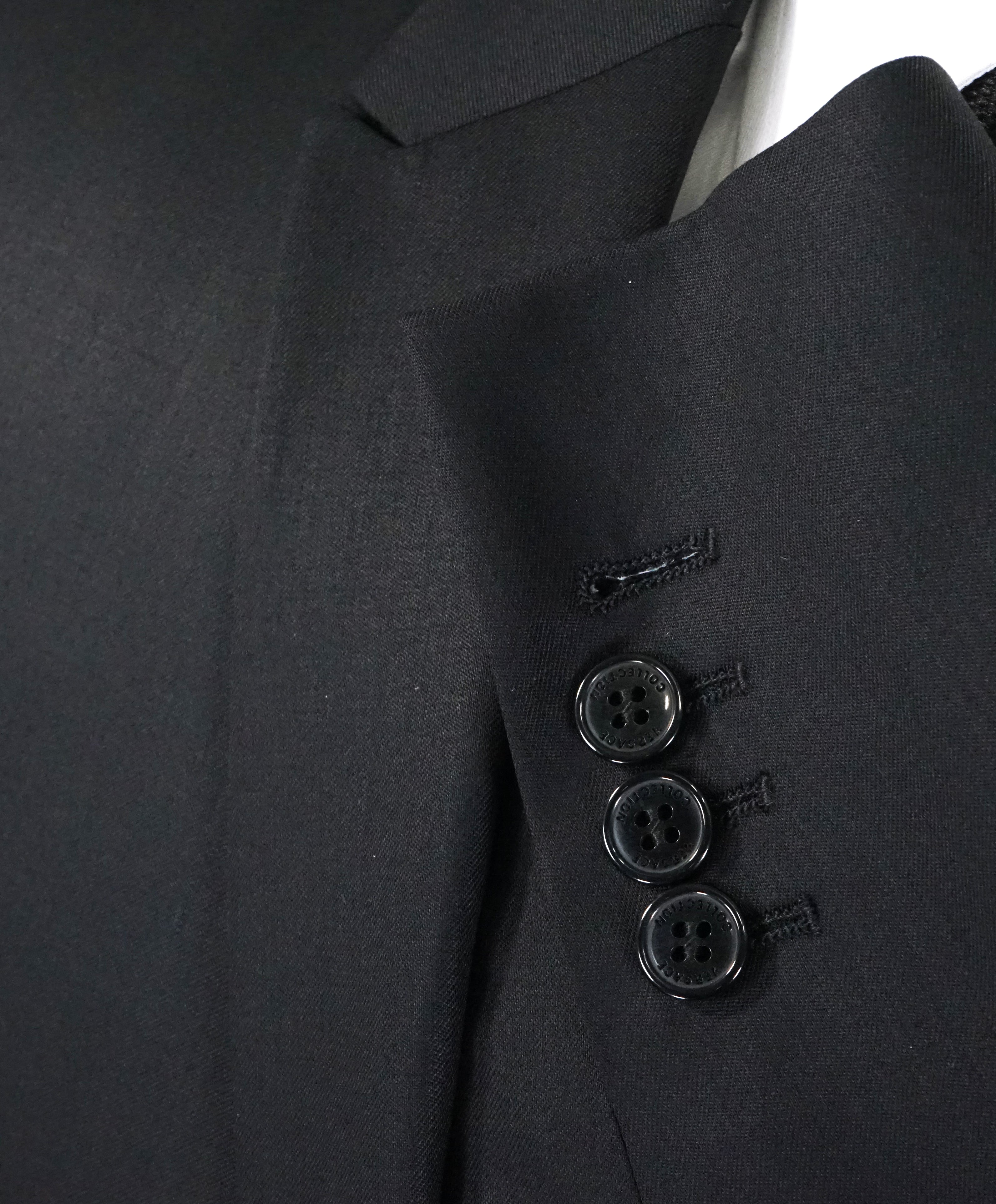 VERSACE COLLECTION - Peak Lapel Black Suit W Baroque Lining - 40R