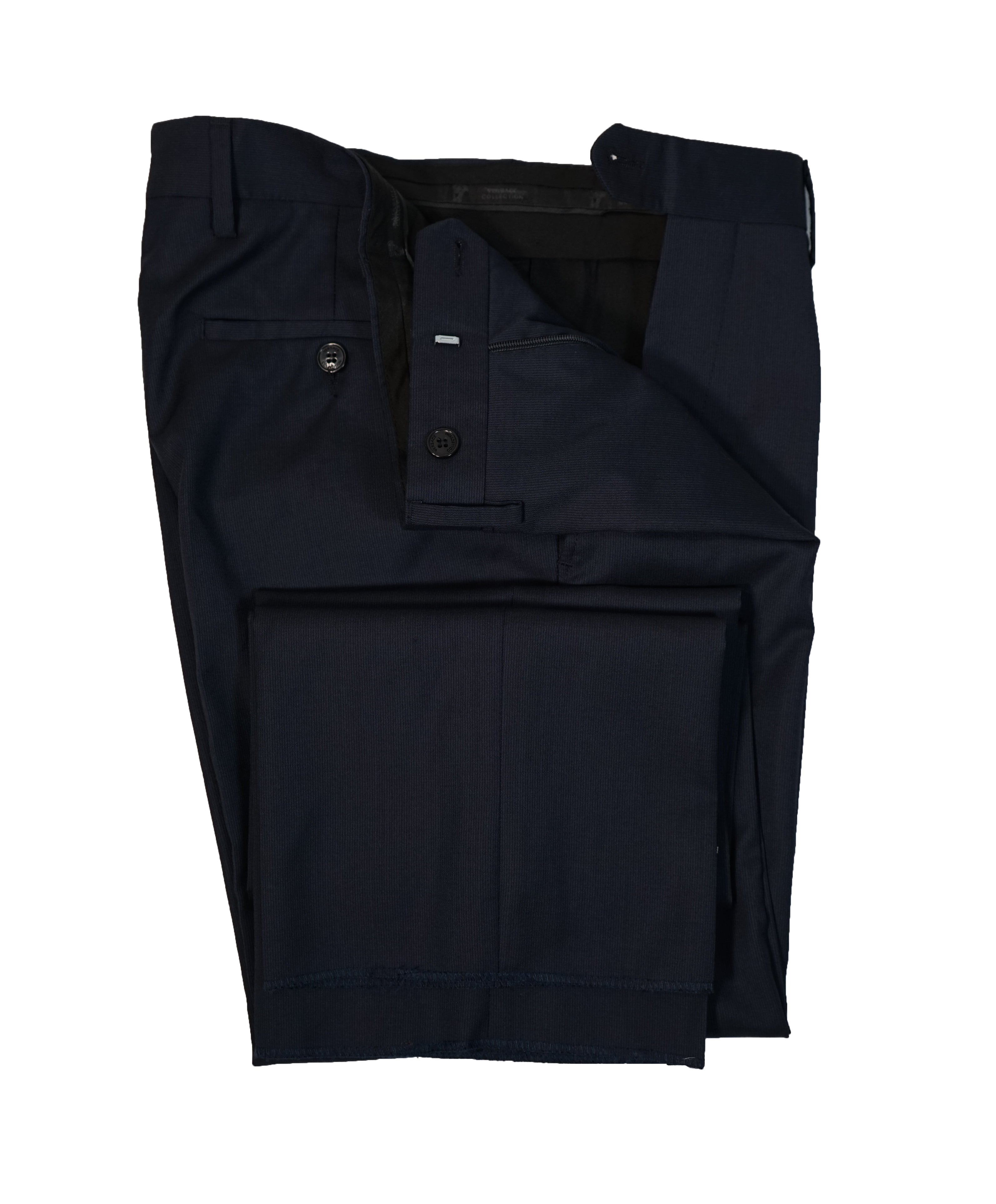 VERSACE COLLECTION - Flat Front Navy Micro Stripe Dress Pants - 30W