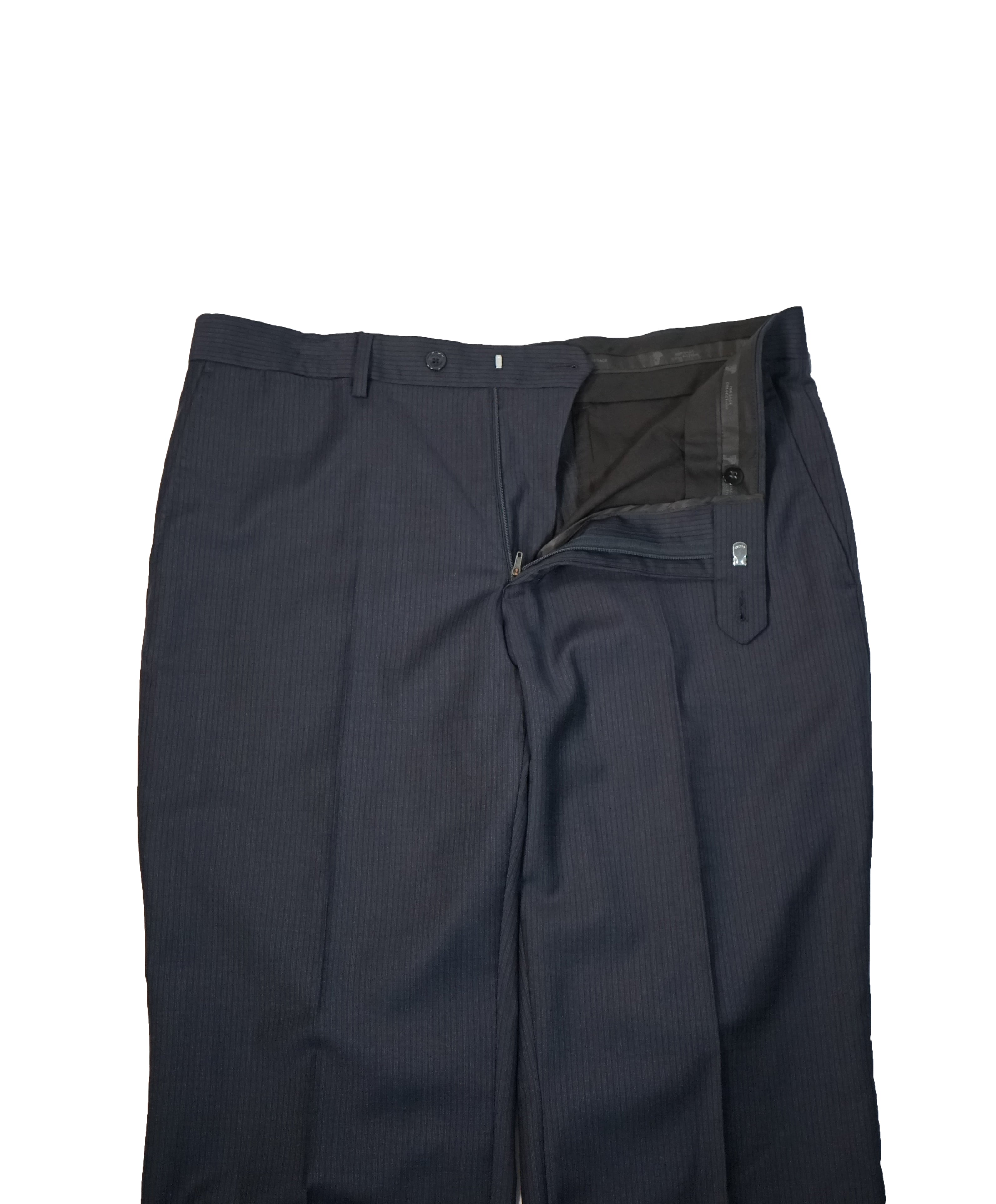 VERSACE COLLECTION - Flat Front Navy Micro Stripe Dress Pants - 36W
