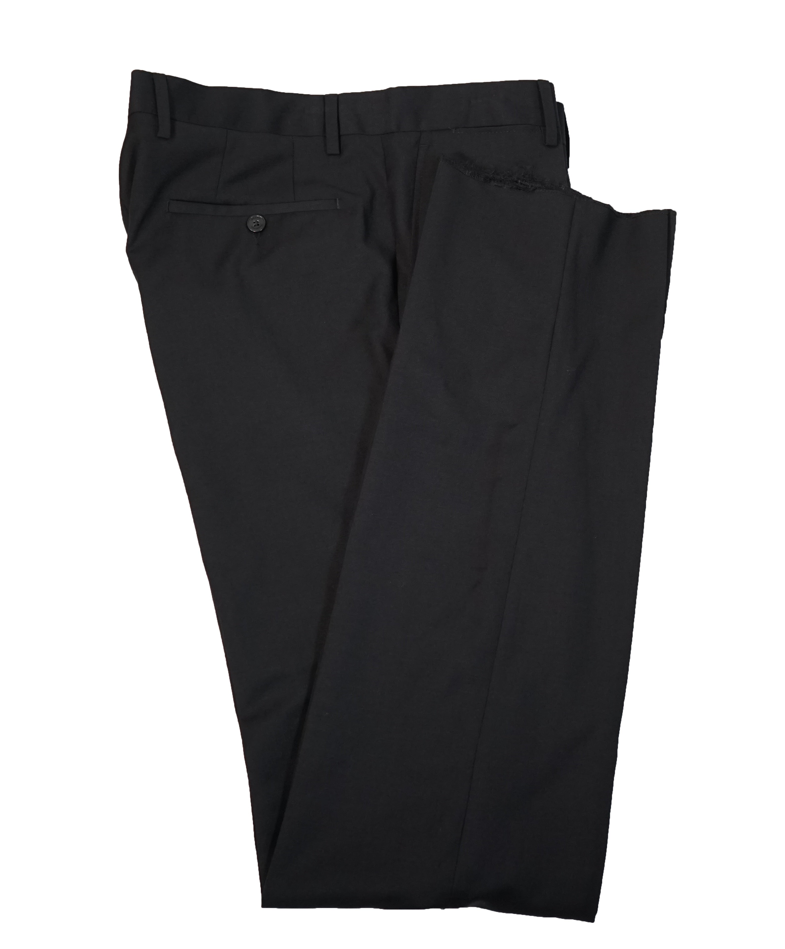 VERSACE COLLECTION - Flat Front Solid Black Dress Pants - 34W