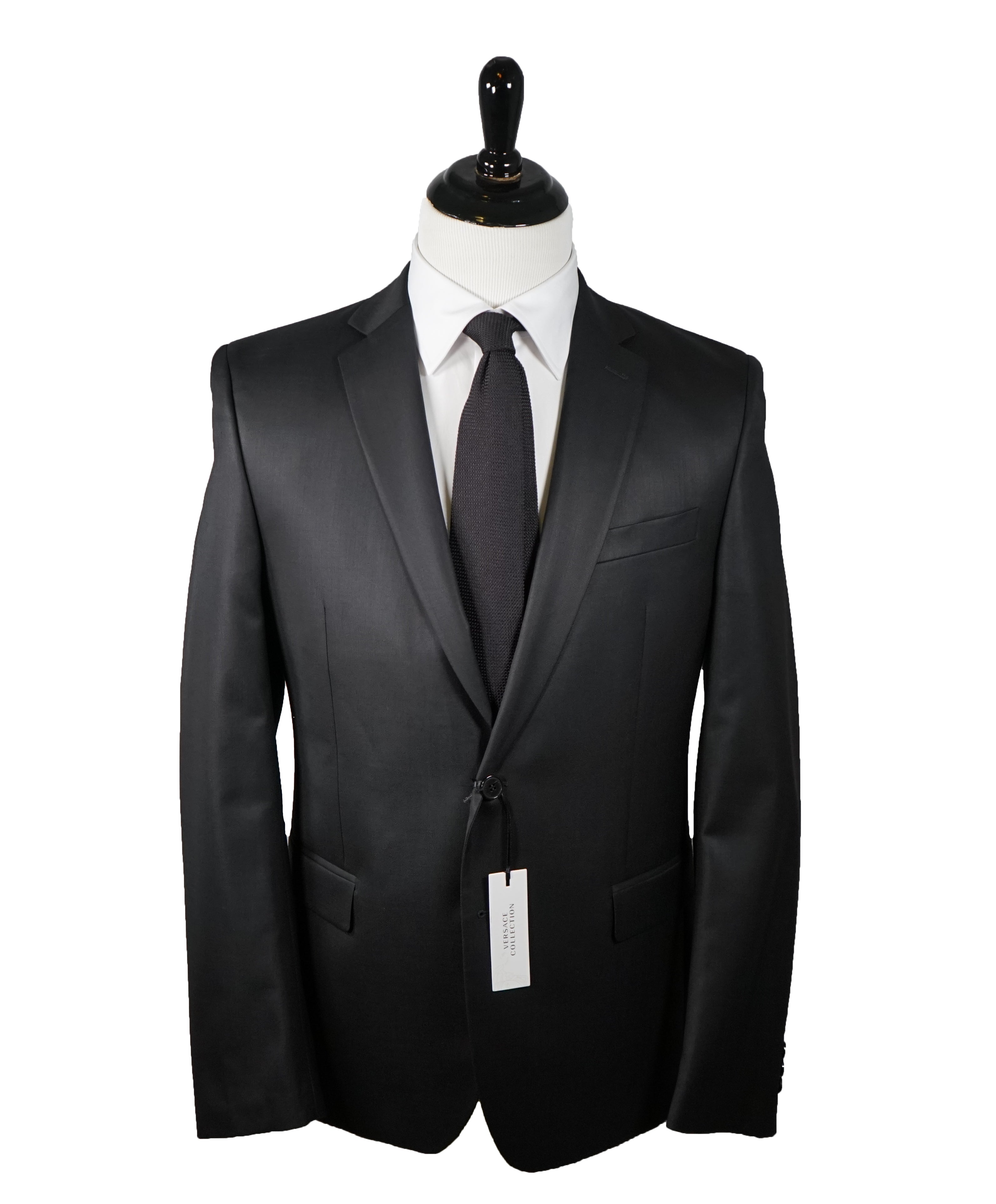VERSACE COLLECTION - Notch Lapel Black Suit With Muted Sheen - 40R