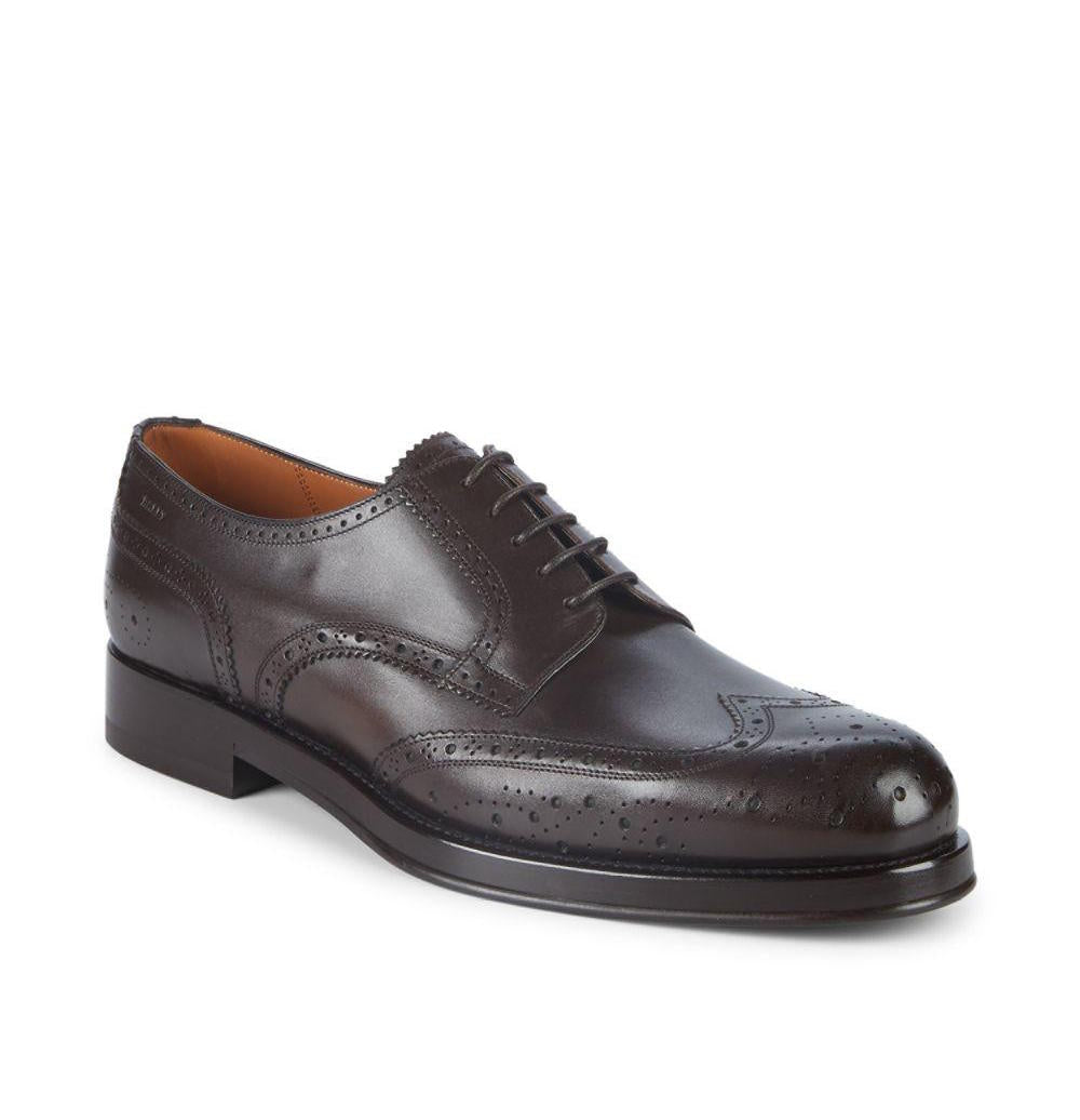 "BALLY - ""NORSK"" Detailed Brogue Engraved Logo Wingtip Oxfords - 9.5"