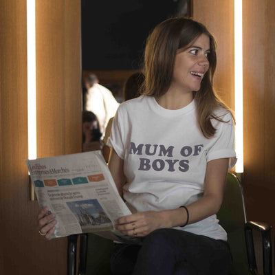 Tshirt MUM OF BOYS blanc et noir - MyTravelDreams