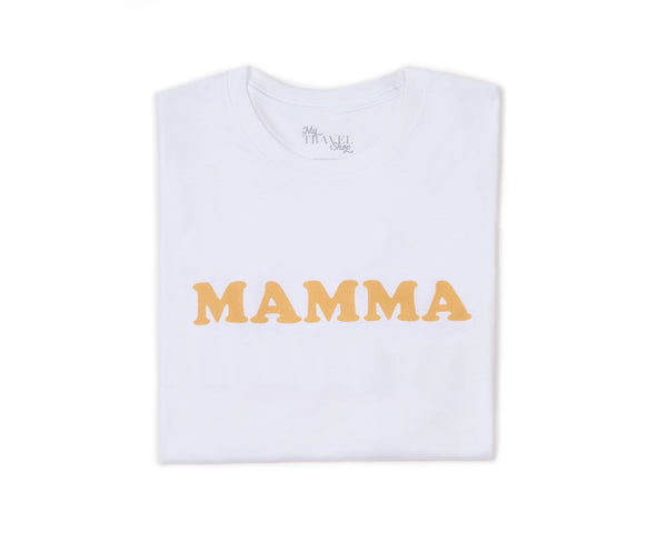 Tee-shirt MAMMA blanc /moutarde