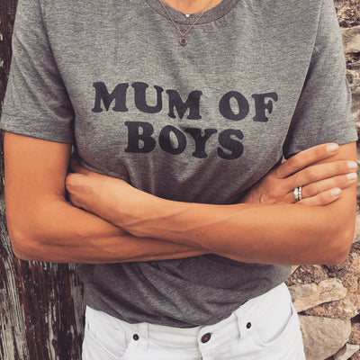 Tee-shirt MUM OF BOYS gris - MyTravelDreams