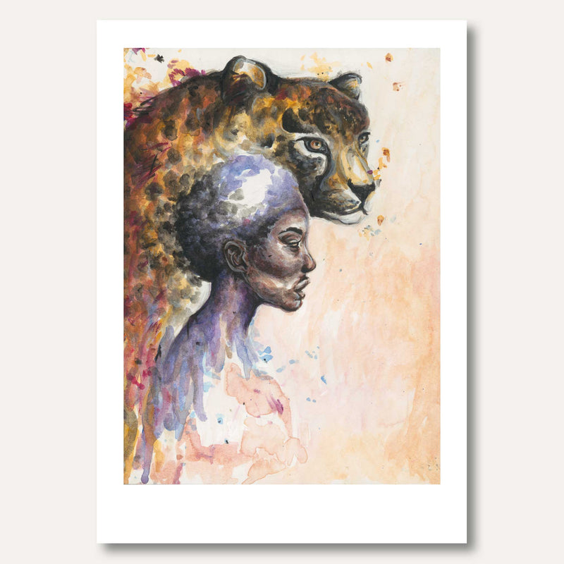 'Woman and Cheetah' by Demeter Kenton-Dau