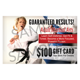 $100 Adult Martial Arts Gift Cards