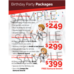 B90Z Party Packages Menu