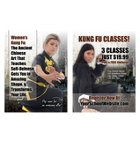 "Womens Kung Fu 3""x4"" Ad Cards"