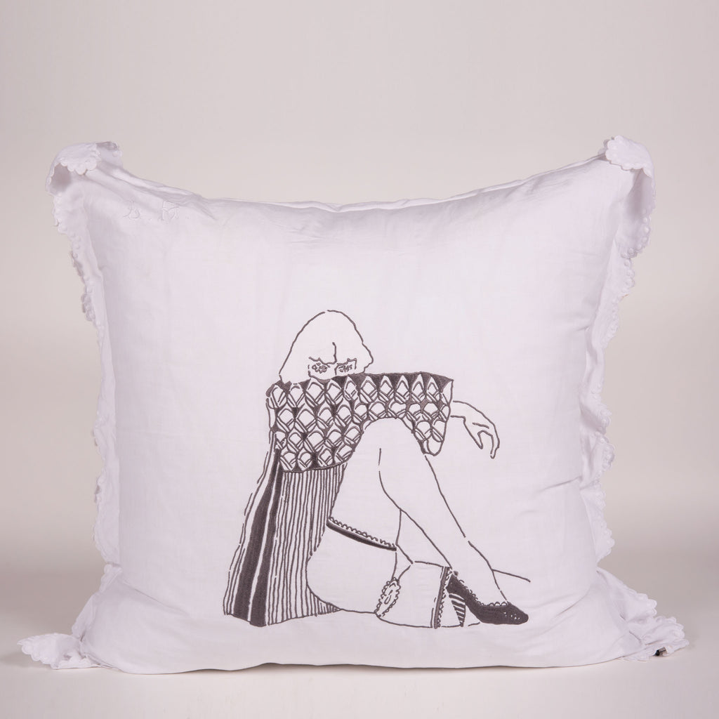 French Vintage Pillow Sham with Embroidered with Artwork by Natalie Krim