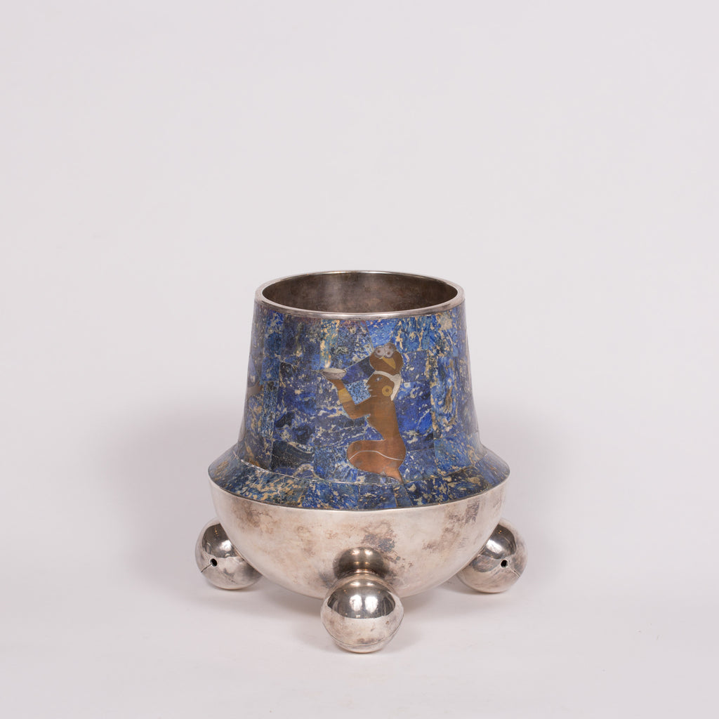 Mexican Lapis and Silver Aztec Vase
