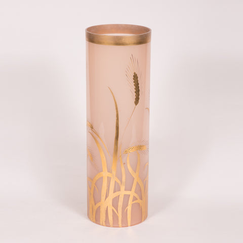 Pink Glass with Hand Painted Gold Wheat Vase