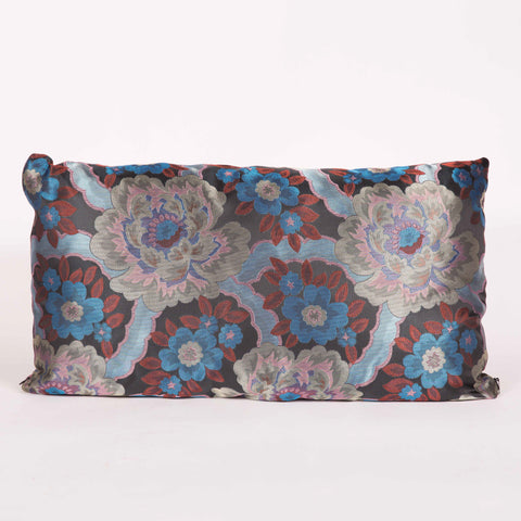 Blue Foral Custom Pillow Satin Decor