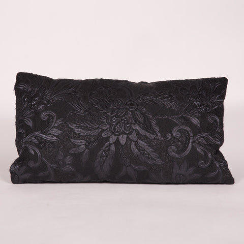 Black Embossed Floral Custom Pillow