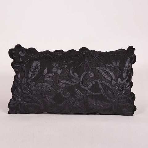 Small Black Embossed Floral Custom Pillow with Fringe Border