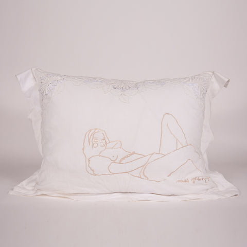 "Vintage French Pillow Shams Embroidered with Natalie Krim's exclusive artwork. 30.5"" x 12"" x 24"" Made in Los Angeles, California."