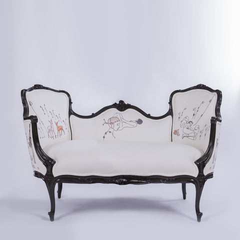 French Rococo Style Carved Giltwood Settee Embroidered with Natalie Krim Artwork