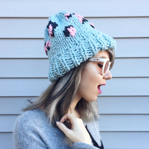 Leopard Beanie in Cotton Candy