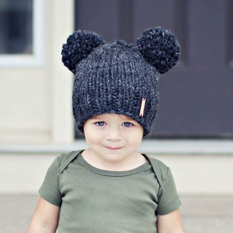 Double Pom-Pom Beanie in Charcoal