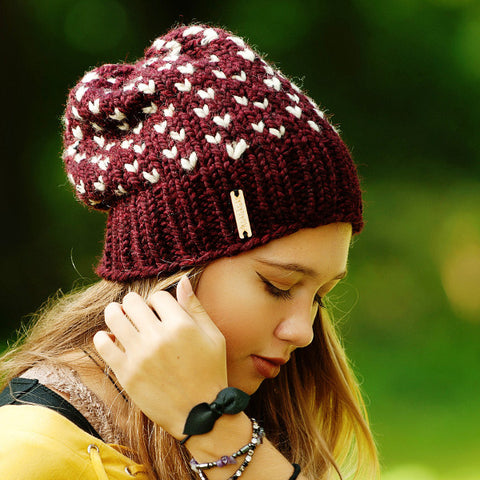 Tiny Hearts Slouchy Beanie in Claret
