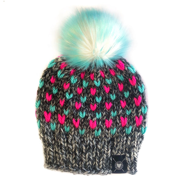 Tiny Hearts Faux Fur Pom-Pom Beanie in Ice Cream Dreams(wool free)