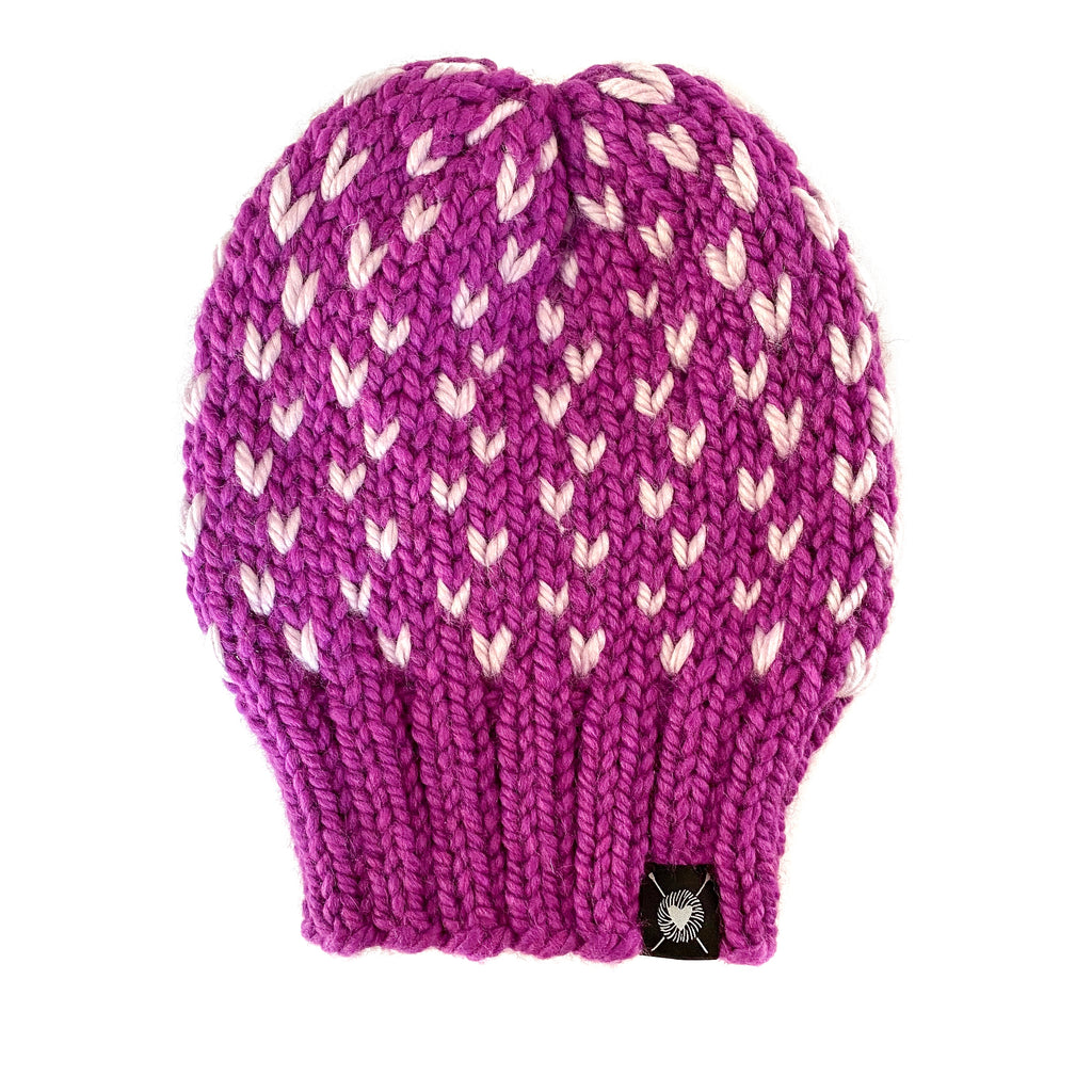 Tiny Hearts Slouchy Beanie in Lolli