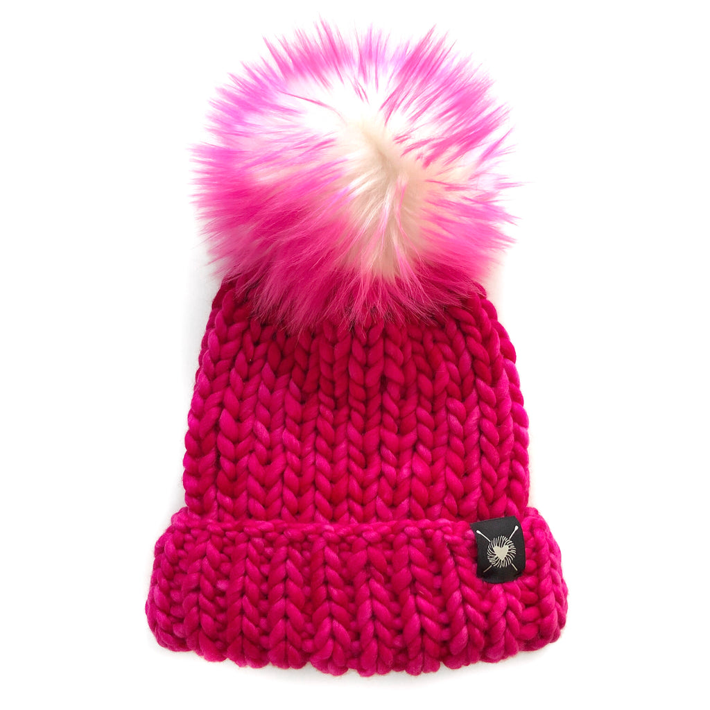 Merino Folded Brim Faux Fur Pom-Pom Beanie in Hot Pink