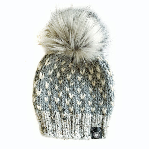 Tiny Hearts Faux Fur Pom-Pom Beanie in Shades of Gray