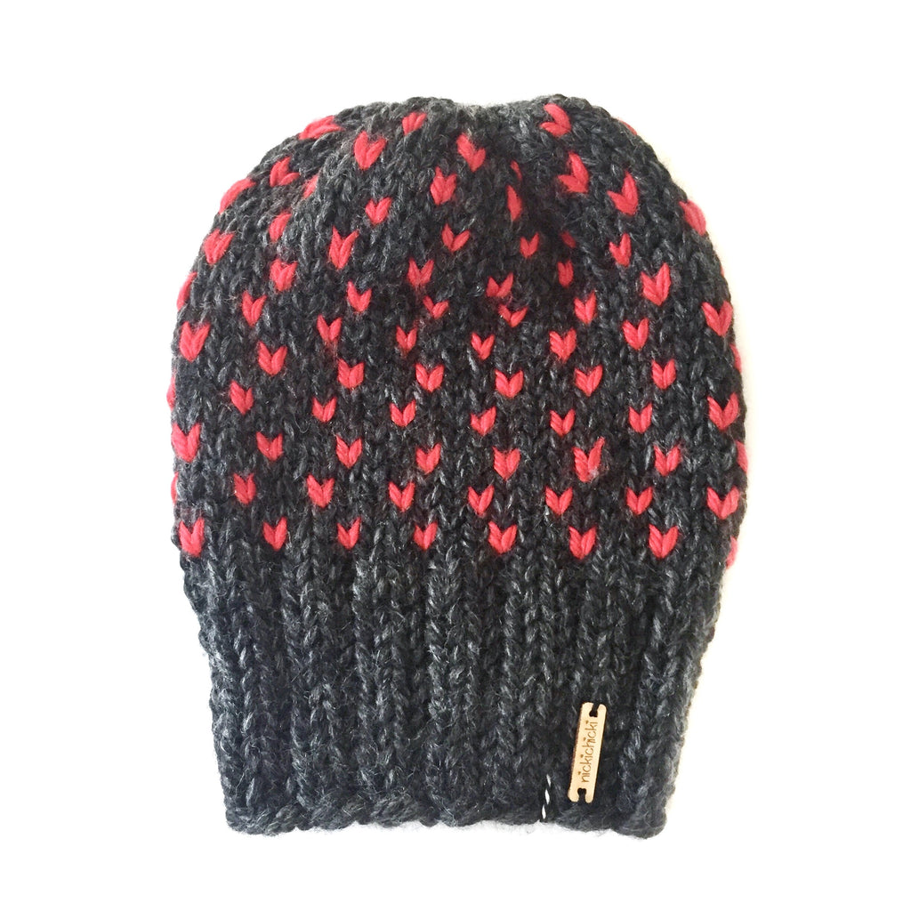 Tiny Hearts Slouchy Beanie in True Love Never Dies, Beanie, Nickichicki - Nickichicki