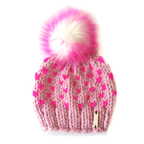 LE: Tiny Hearts Pom-Pom Beanie in Sweet Tart