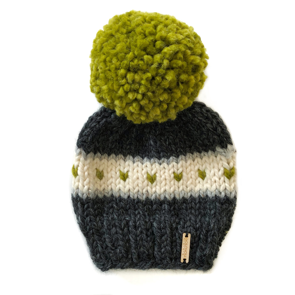 Stripes + Tiny Hearts Pom-Pom Beanie in Light Up The Night, Beanie, Nickichicki - Nickichicki