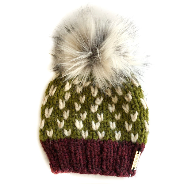 Tiny Hearts Faux Fur Pom-Pom Beanie in Crisp Autumn, Beanie, Nickichicki - Nickichicki