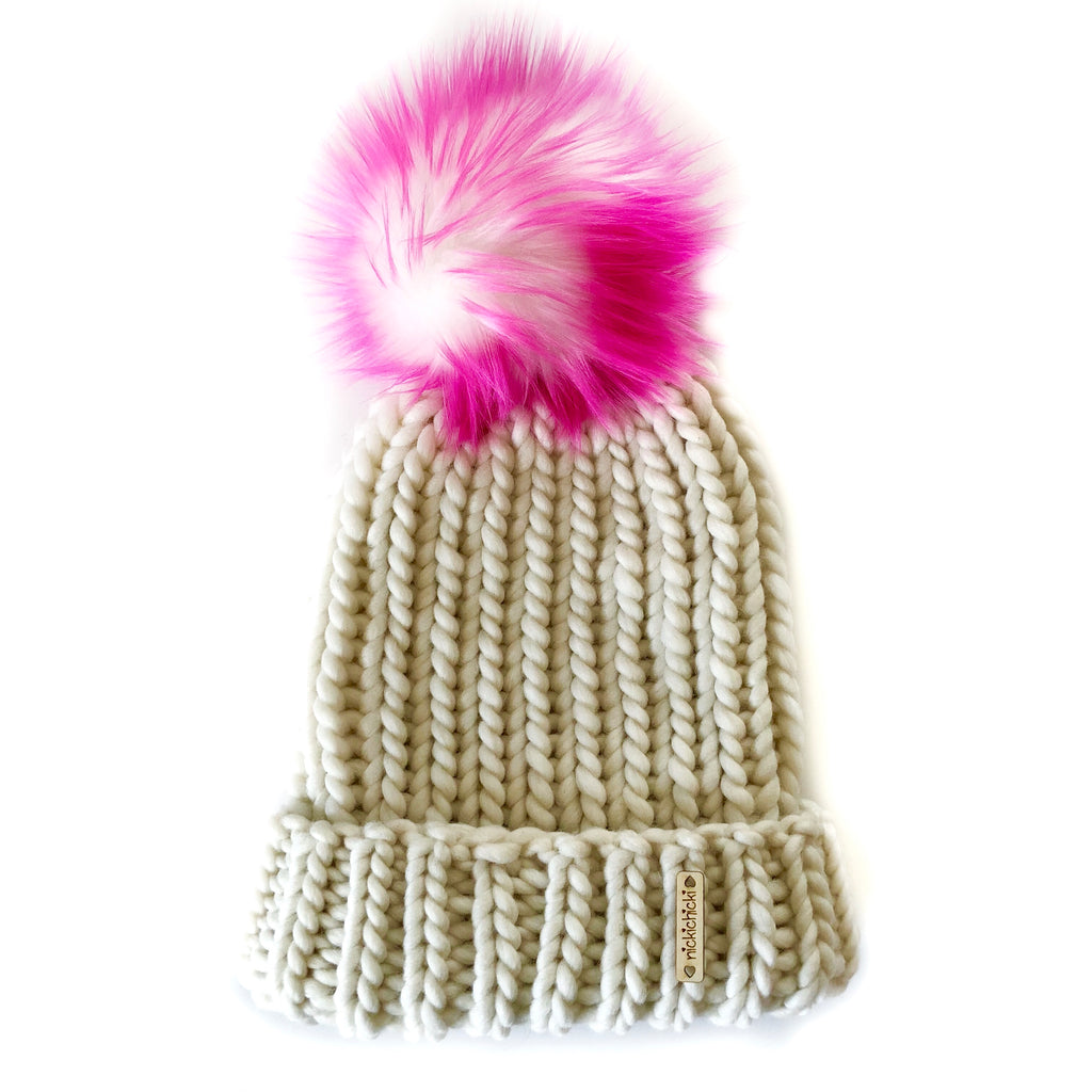 Faux Fur Merino Wool Ribbed Beanie in Winter White + Neon Pink