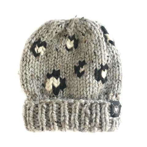 Leopard Beanie in Gray Tweed