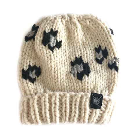 Leopard Beanie in Winter White