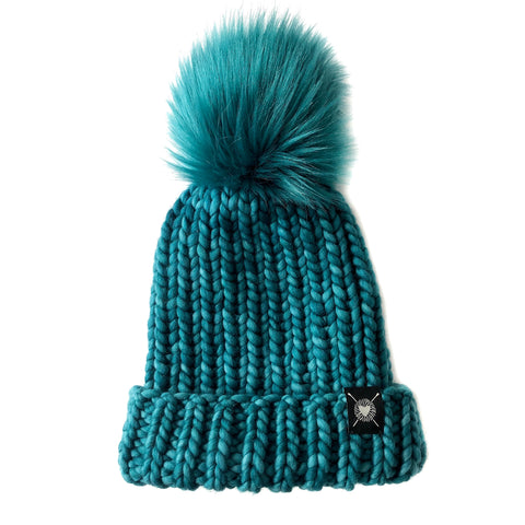 Merino Folded Brim Faux Fur Pom-Pom Beanie in I Love Teal