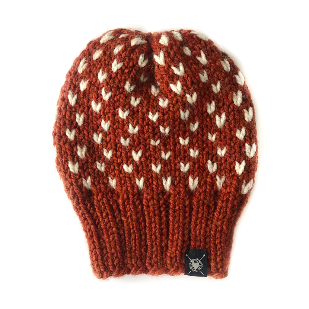 Tiny Hearts Slouchy Beanie in Spiced